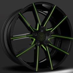 Lexani Gravity Black with Green Accent Wheels